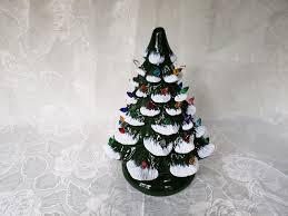 Ceramic Christmas Light Up Tree Vintage Flocked Ceramic Christmas Light Up Tree