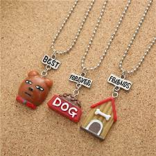resin brown cute pet dog head bone house pendant children necklace best friends friendship jewelry souvenir
