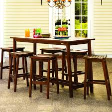 oxford garden dartmoor 6 person wood patio bar set brown umber