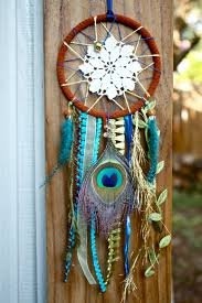 Dream Catcher Without Feathers Dreamcatcher Doily Peacock feather design w blue and green 14