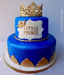 Royal Themed Cake Blue And Gold Royal Baby Shower Cake Cakes