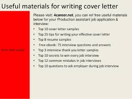 Cover Letter Production Assistant Production Assistant Cover Letter
