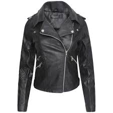 las womens motorcycle lightweight faux leather asymmetric pu biker jacket new