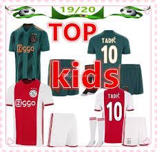 Soccer Kit Designer 2019 New Ajax Kids Jerseys Kit 2019 2020 Designer T Shirts Kids Soccer Jersey De Jong Tadic Ziyech Van Beek Neres Child Football Shirt From Chandal