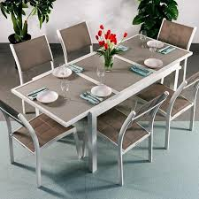 6 seater modern aluminium glass top white champagne extending garden furniture outdoor dining table set 1