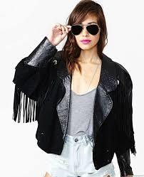 fringe black leather jacket 6551 zoom helmet