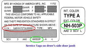 Honda Vin Identification Chart Honda Service Tag Vin Exterior Vehicle Color Bernardi Parts