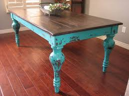 Rustic Turquoise Dining Table. Unique rustic stained top ...