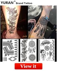 Yuran Women Sexy Arm Fake Black Tattoo Henna Mandala Flower Temporary Tattoo Girls Beauty Flora Waterproof Tatoos Indian Mehndi