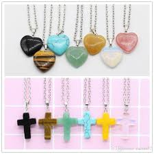 whole hot natural stone necklace heart cross shape pink opal crystal pendant stainless steel chain necklace jewelry women men diamond pendant necklaces