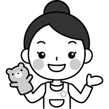 人形劇をする保育士の白黒モノクロイラスト かわいい女性の無料