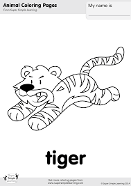 Zentangle tiger baby cub coloring page. Tiger Coloring Page Super Simple