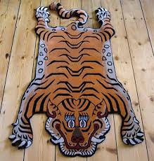 faux tiger skin rug with head furniture