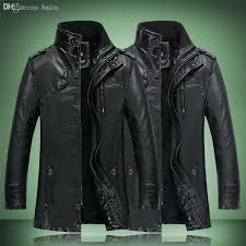 mens leather trench coat fall winter leather trench coat men military stand collar lined faux leather