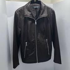 details about womens kenneth cole reaction faux leather jacket cognac brown m