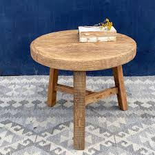 reclaimed elm round side table home
