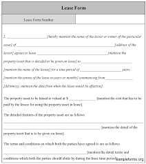 Lease Form Template Sample Forms