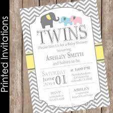 Printed Elephant Twins Baby Shower Invitation twin girl twin