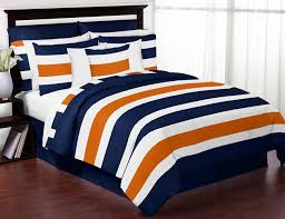 stripe navy blue and orange twin bedding collection enlarge