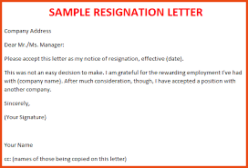Samples Of Resignation Letters New Resignation Letter From Employee Innazous Innazous
