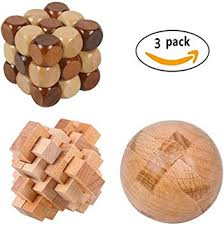 CiCy 3 Pcs 3D Wooden Cube Brain Teaser Puzzle ... - Amazon.com