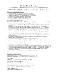 Biology Resume Example Example Of The Science Resume Resume