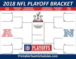 Nfl Playoff Bracket 2018 Chart 2018 Nfl Playoff Bracket Printable Template Nfl Playoff