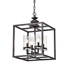 jojospring la pedriza 4 light antique black lantern chandelier with clear glass cylinders