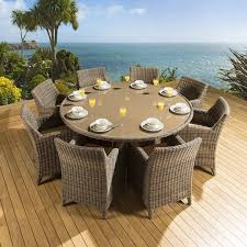 rattan garden outdoor dining set round table 8 chairs mocha beige