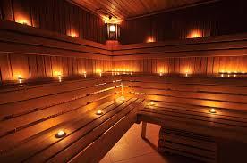 three level sauna interior with mood lighting