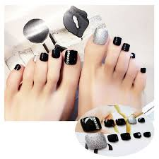 Us 2 58 30 Off 24 Pcs Fake Nails Set Feet Short False Nails Full Cover Toenails Decorative Toe Nails Art Mixed Fashion Design With Glue In False