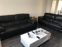 black leather sofa couch