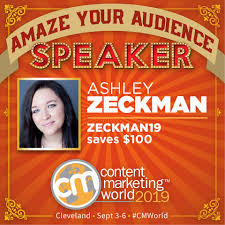 Ashley Zeckman is back on the CMWorld... - Content Marketing Institute |  Facebook