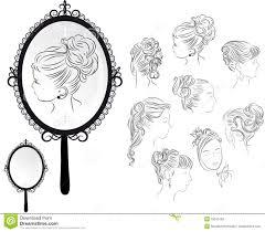 hand held mirror drawing. Women\u0027s Hairstyles, Mirror. Outline Hand-drawing Of Several Women\u0027s  Mirror Stock Hand Held Drawing R