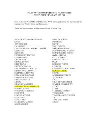 Summary First Exam Study Sheet Film 1000 Carleton
