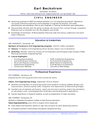 Engineer Resume Sample For An Entry Level Civilonster Com Resumes