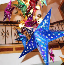 30cm 110cm handmade decor paper charms pendants laser star chandelier lampshade birthday party home hotel decorations ornament make