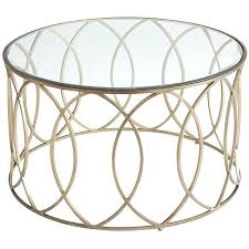 coffee table bronze iron round glass gold frame top