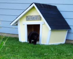 a puppy coming out of a yellow dog house