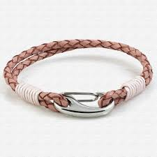 pink two strap bolo leather bracelet with steel lobster clasp