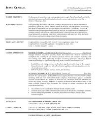 Resume Examples, Actuary Resume Template Career Objective Actuarial Profile  Exams And Licenses Career Experience Senior