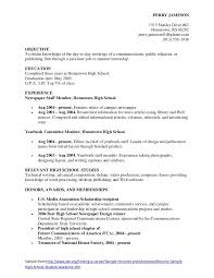 Gallery Of Resume For Highschool Students Resume Objectives