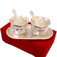 here for bulk silver coloured twin bowl set made of german silver