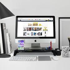 Slim Computer Desk Monitor Stand Desk Organizer Laptop Computer Storage Utility