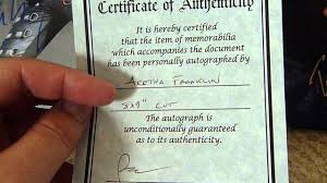 Homemade Certificate Of Authenticity Is Worthless Autograph
