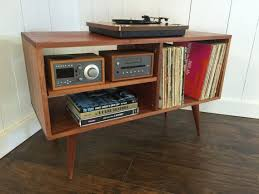 New mid century modern record player console, turntable, stereo cabinet  with LP album storage. Avail in cherry, white oak or mahogany.