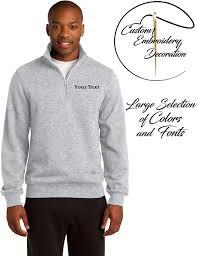 Custom Design 1 4 Zip Sweatshirts Custom Embroidered Quarter Zip Sweatshirts Personalized Embroidery Sweaters