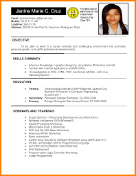 Resume Letter Tagalog Applicant Resume Sample Filipino Tourism Ojt