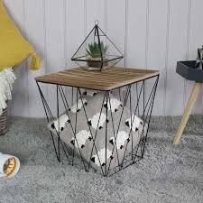 black metal square basket wooden top