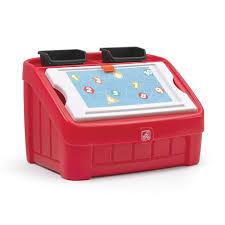 Baby Boy Spafurnishcom 2in1 Toy Box Art Lid Red Kids Toy Box Step2